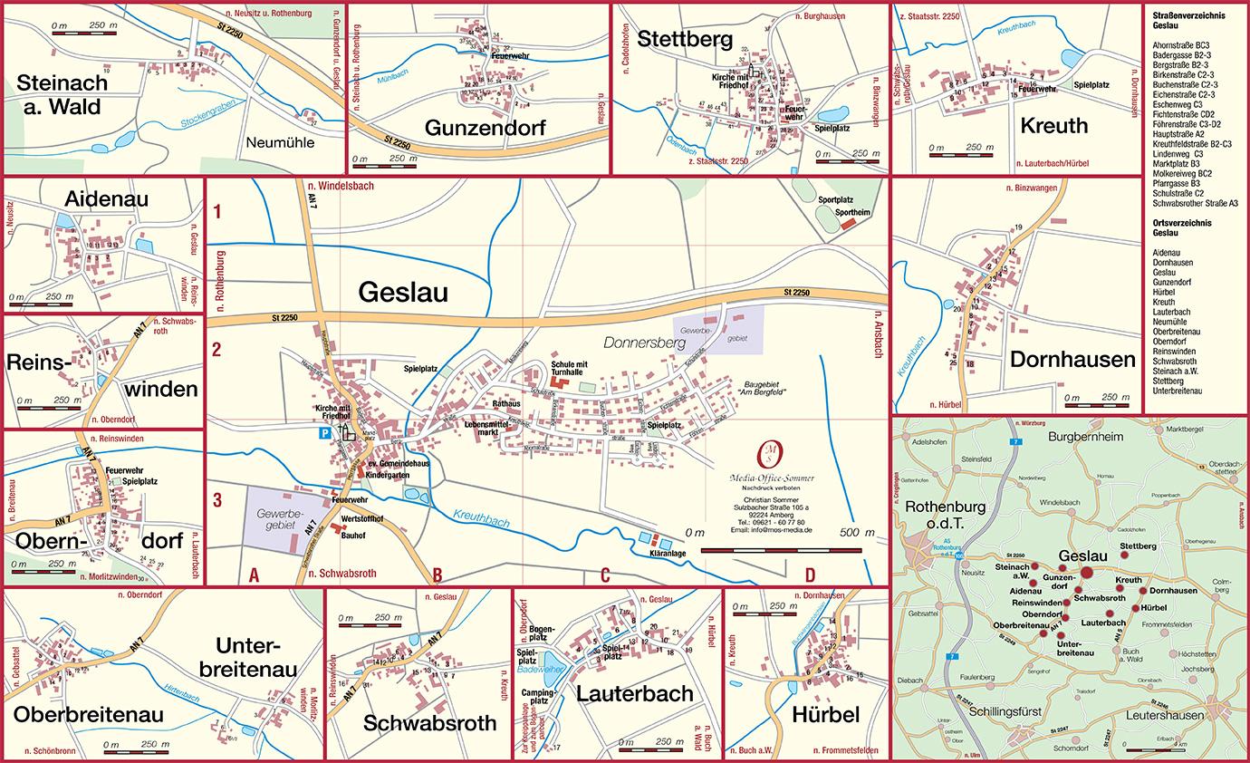 Ortsplan der Gemeinde Geslau